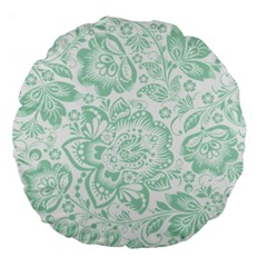 Mint green And White Baroque Floral Pattern Large 18  Premium Flano Round Cushions