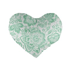 Mint green And White Baroque Floral Pattern Standard 16  Premium Flano Heart Shape Cushions