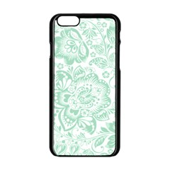Mint green And White Baroque Floral Pattern Apple iPhone 6/6S Black Enamel Case