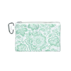 Mint green And White Baroque Floral Pattern Canvas Cosmetic Bag (S)