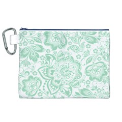 Mint green And White Baroque Floral Pattern Canvas Cosmetic Bag (XL)