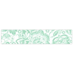 Mint green And White Baroque Floral Pattern Flano Scarf (Small)