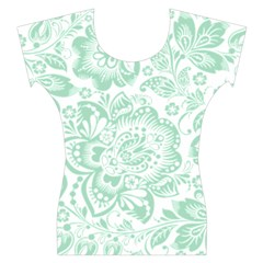 Mint green And White Baroque Floral Pattern Women s Cap Sleeve Top