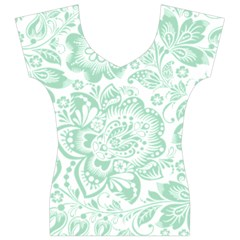 Mint green And White Baroque Floral Pattern Women s V-Neck Cap Sleeve Top