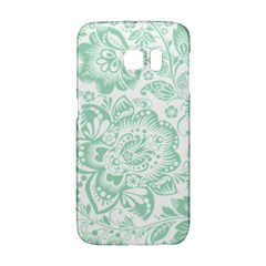 Mint Green And White Baroque Floral Pattern Galaxy S6 Edge