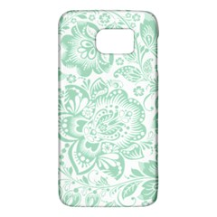 Mint green And White Baroque Floral Pattern Galaxy S6