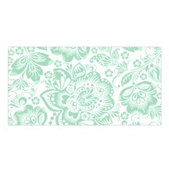 Mint green And White Baroque Floral Pattern Satin Shawl