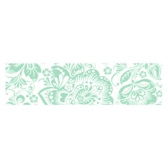 Mint green And White Baroque Floral Pattern Satin Scarf (Oblong)