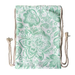 Mint Green And White Baroque Floral Pattern Drawstring Bag (large)