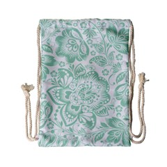 Mint Green And White Baroque Floral Pattern Drawstring Bag (small)