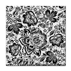 Black Floral Damasks Pattern Baroque Style Tile Coasters