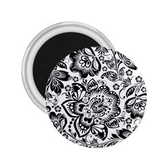 Black Floral Damasks Pattern Baroque Style 2.25  Magnets