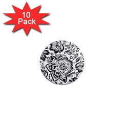 Black Floral Damasks Pattern Baroque Style 1  Mini Magnet (10 Pack)