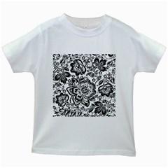 Black Floral Damasks Pattern Baroque Style Kids White T-Shirts