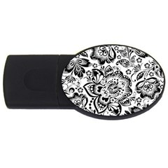 Black Floral Damasks Pattern Baroque Style Usb Flash Drive Oval (2 Gb)