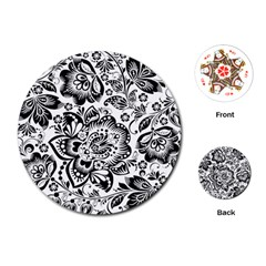 Black Floral Damasks Pattern Baroque Style Playing Cards (round)
