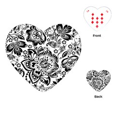 Black Floral Damasks Pattern Baroque Style Playing Cards (heart)