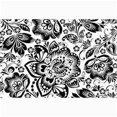 Black Floral Damasks Pattern Baroque Style Collage 12  X 18