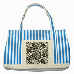 Black Floral Damasks Pattern Baroque Style Striped Blue Tote Bag
