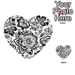 Black Floral Damasks Pattern Baroque Style Playing Cards 54 (Heart)