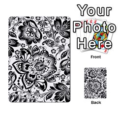 Black Floral Damasks Pattern Baroque Style Multi Purpose Cards (rectangle)
