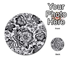 Black Floral Damasks Pattern Baroque Style Multi Purpose Cards (round)