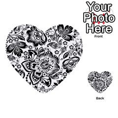 Black Floral Damasks Pattern Baroque Style Multi-purpose Cards (Heart)