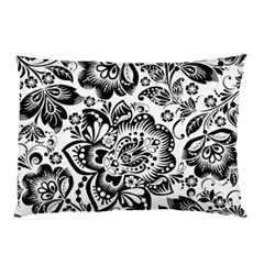 Black Floral Damasks Pattern Baroque Style Pillow Cases