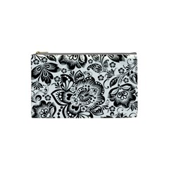 Black Floral Damasks Pattern Baroque Style Cosmetic Bag (Small)
