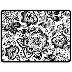 Black Floral Damasks Pattern Baroque Style Fleece Blanket (large)