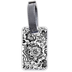 Black Floral Damasks Pattern Baroque Style Luggage Tags (Two Sides)