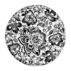 Black Floral Damasks Pattern Baroque Style Ornament (Round Filigree)