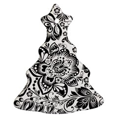 Black Floral Damasks Pattern Baroque Style Ornament (Christmas Tree)