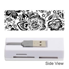 Black Floral Damasks Pattern Baroque Style Memory Card Reader (Stick)