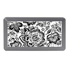 Black Floral Damasks Pattern Baroque Style Memory Card Reader (Mini)