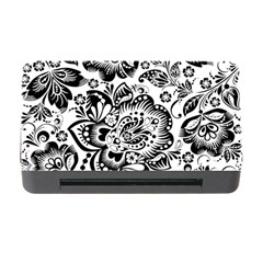 Black Floral Damasks Pattern Baroque Style Memory Card Reader With Cf