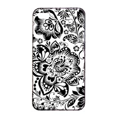 Black Floral Damasks Pattern Baroque Style Apple Iphone 4/4s Seamless Case (black)