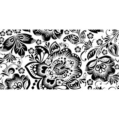 Black Floral Damasks Pattern Baroque Style YOU ARE INVITED 3D Greeting Card (8x4)