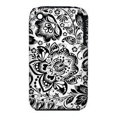 Black Floral Damasks Pattern Baroque Style Apple Iphone 3g/3gs Hardshell Case (pc+silicone)