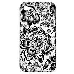 Black Floral Damasks Pattern Baroque Style Apple iPhone 4/4S Hardshell Case (PC+Silicone)