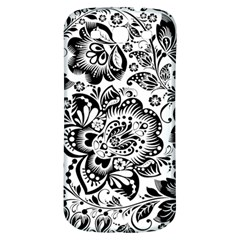 Black Floral Damasks Pattern Baroque Style Samsung Galaxy S3 S III Classic Hardshell Back Case
