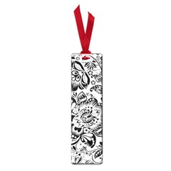 Black Floral Damasks Pattern Baroque Style Small Book Marks