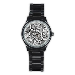 Black Floral Damasks Pattern Baroque Style Stainless Steel Round Watches
