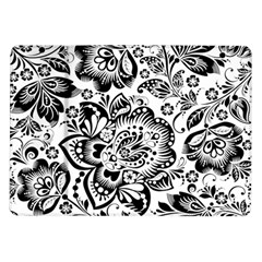 Black Floral Damasks Pattern Baroque Style Samsung Galaxy Tab 10.1  P7500 Flip Case