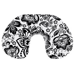 Black Floral Damasks Pattern Baroque Style Travel Neck Pillows
