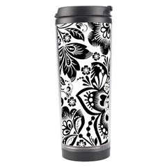 Black Floral Damasks Pattern Baroque Style Travel Tumblers