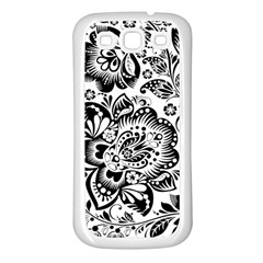 Black Floral Damasks Pattern Baroque Style Samsung Galaxy S3 Back Case (White)