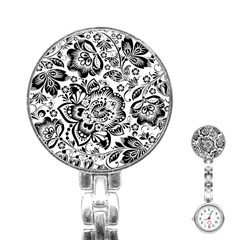 Black Floral Damasks Pattern Baroque Style Stainless Steel Nurses Watches