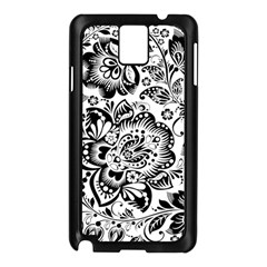 Black Floral Damasks Pattern Baroque Style Samsung Galaxy Note 3 N9005 Case (black)