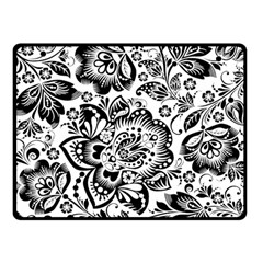 Black Floral Damasks Pattern Baroque Style Double Sided Fleece Blanket (small)